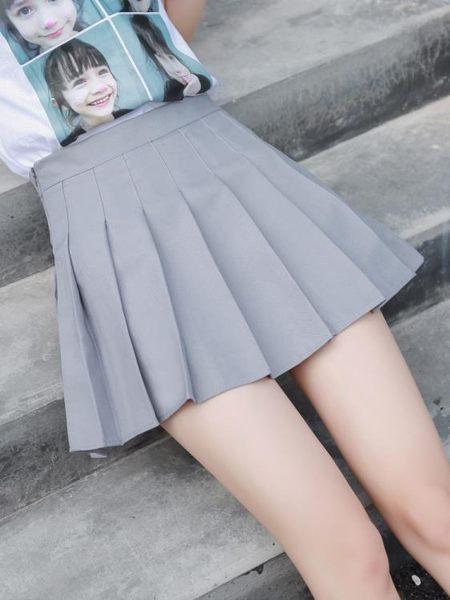 新款百褶裙ulzzang軟妹短裙女夏高腰A字裙學生防走光格子半身裙褲