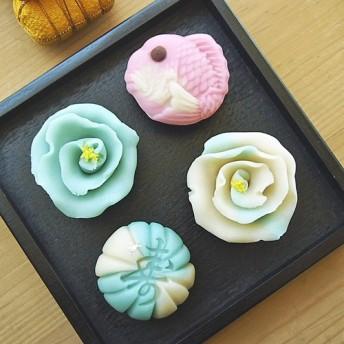 お祝 薔薇と寿 季節の上生菓子詰め合わせ (ブルー系)6個入り お熨斗 名入れ可【 Creema限定 受注生産品】