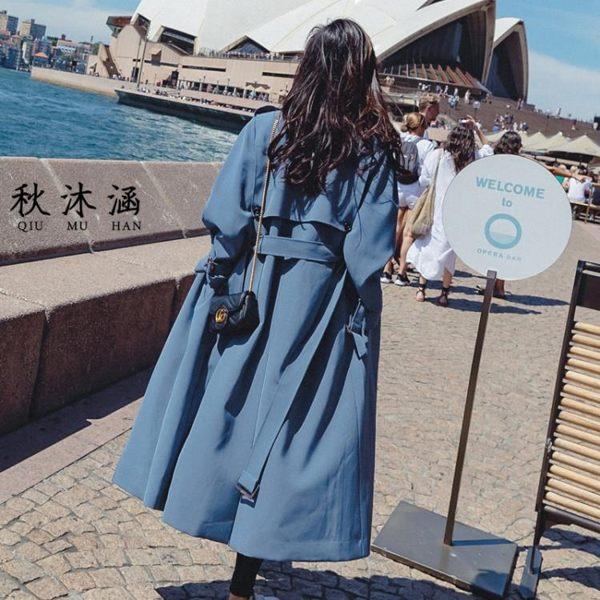霧霾藍風衣女秋季2019新款長款過膝顯瘦長袖lulu風衣外套薄款chic