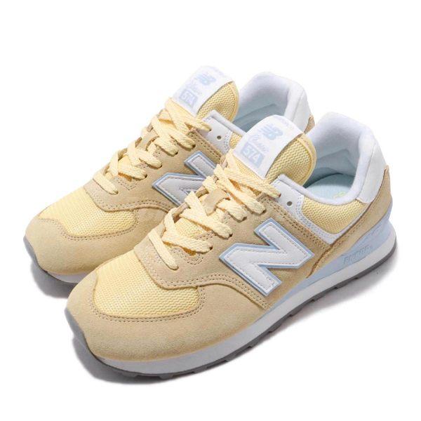 New Balance 復古慢跑鞋 574 NB 黃 藍 麂皮鞋面 基本款 運動鞋 休閒鞋 女鞋【PUMP306】 WL574ESGB