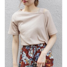 Tシャツ - ViS ワンショルダーランダムテレコ半袖プルオーバー