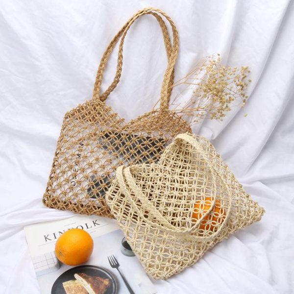 編織包AbbottVintage「漁網包」簡約編織沙灘包側背手提包ins風夏日新品 嬡孕哺