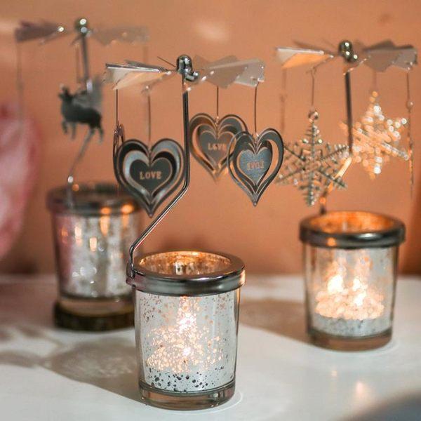 燭台星空杯許愿燭台走馬燈自動旋轉蠟燭香薰無煙精油香氛浪漫生日禮物
