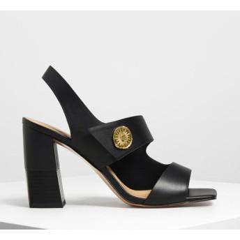 アシメトリカル チャンキーヒールサンダル / Asymmetrical Chunky Heel Sandals (Black)