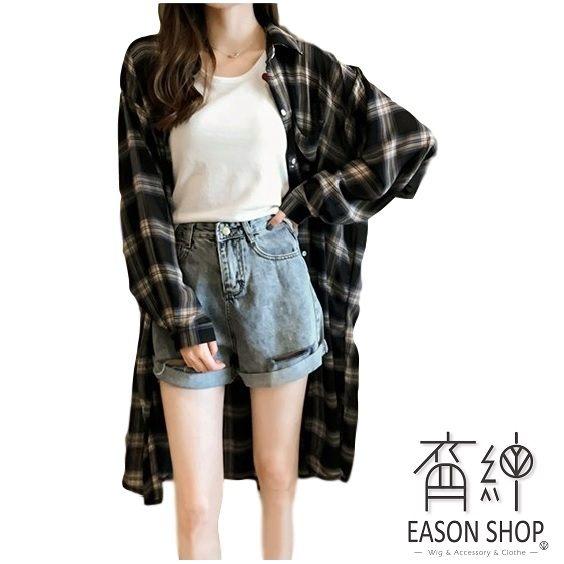 EASON SHOP(GU8571)經典格紋印花前排釦單口袋長袖襯衫外套防曬衫女上衣服寬鬆長版薄款OVERSIZE黑色