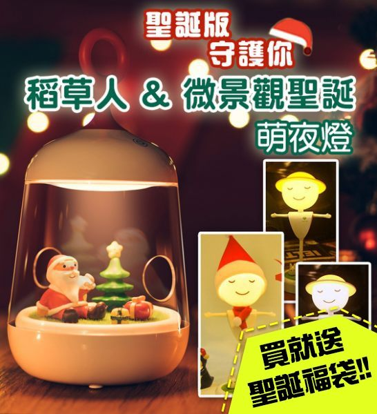 聖誕微景觀/稻草人USB夜燈n交換禮物/生日禮物/聖誕禮物n畢業禮物/送禮首選