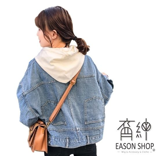 EASON SHOP(GU9248)實拍韓版水洗丹寧藍色後背搞怪設計短版多口袋前排釦牛仔外套夾克女上衣服鬆顯瘦