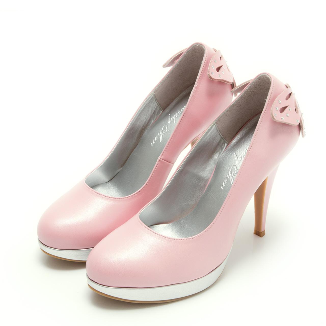 高跟鞋.MIT 真皮典雅女伶蝴蝶結婚鞋