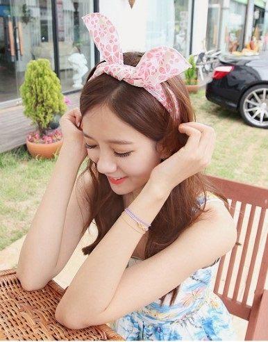 [協貿國際] 韓式髮飾頭飾碎花兔耳朵髮帶寬髮箍 (5個價)