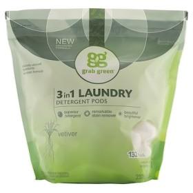 3 イン1洗濯洗剤ポッド, ベチバー, 132ロード, 5ポンド4オンス(2,376 g)