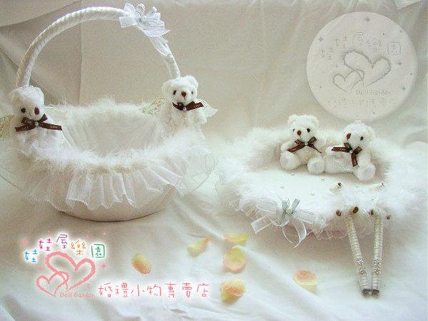 娃娃屋樂園~白色天使情人4件組 每組1300元/喜糖籃/簽名筆/婚禮小物/二次進場