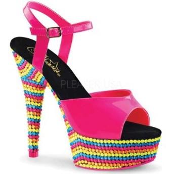 プリーザー レディース サンダル シューズ Delight 609RBS Ankle Strap Sandal Neon Hot Pink Patent/Neon Multi