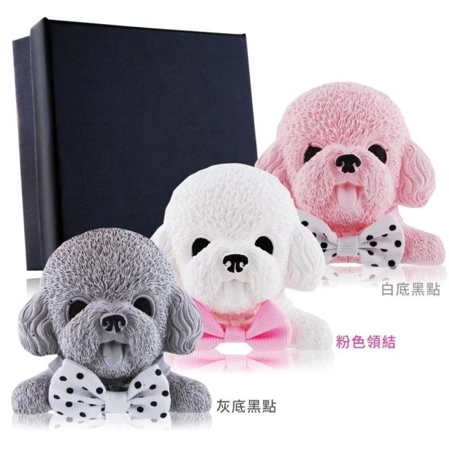 O'Pretty 歐沛媞 室內車用香氛擴香石掛飾-白色泰迪狗-粉色領結6.5X6CM