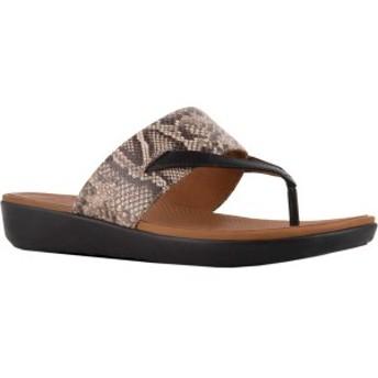 フィットフロップ レディース サンダル シューズ Delta Thong Sandal Taupe/Black Snake Print Embossed Leather