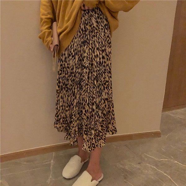 豹紋 百折裙 長裙 A字裙 百褶裙 百摺裙 傘擺裙 裙子 洋裝 顯瘦 NXS