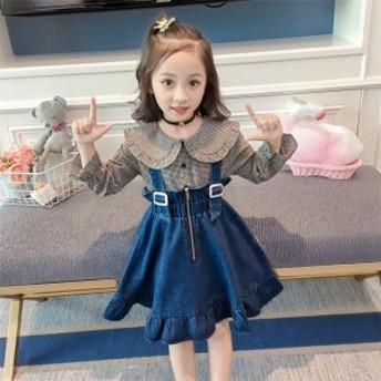 女の子スカート 吊りスカート デニムスカート キッズ 韓国子供服 無地 子供 ジュニア カジュアル サロペット