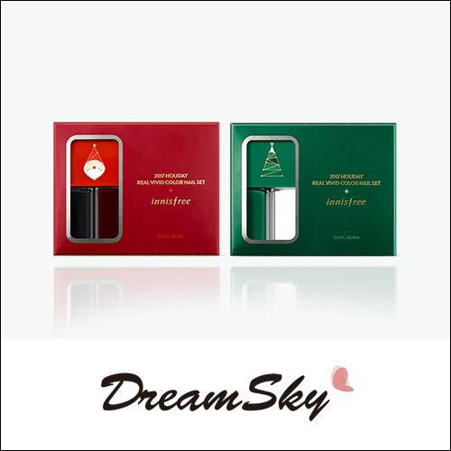 韓國 innisfree 2017 綠色聖誕 限量 指彩組 (附指甲貼) 0.7gx2 綠色 酒紅 指甲油 交換禮物 聖誕 禮物