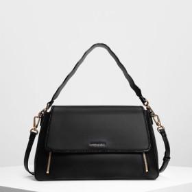 ジップディテール フロントフラップバッグ / Zip Detail Front Flap Bag (Black)