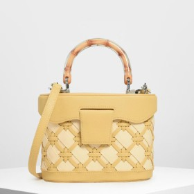 ウーブン トップハンドルバッグ / Woven Top Handle Bag (Yellow)