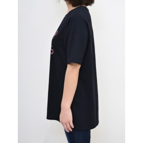 Tシャツ - HEART MARKET SHEER BLISSプリントチュニックレディース トップス カジュアル 体型カバー 半袖 夏 コットン ロゴ プリント ホワイト ブラック