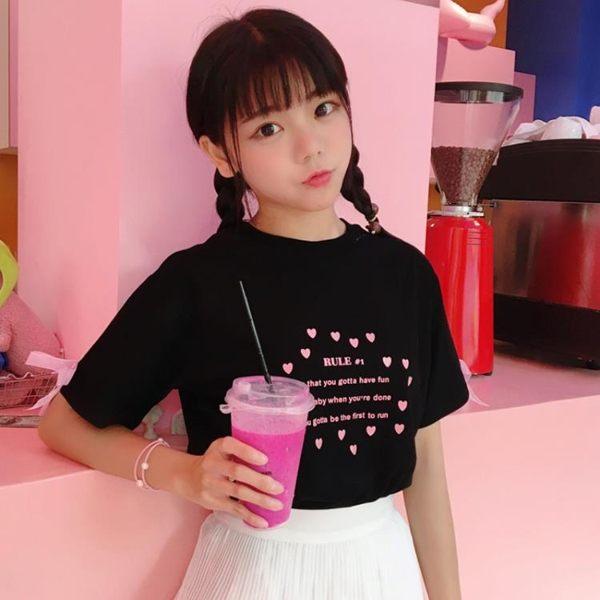 [超豐國際]少女風小清新軟妹粉色字母印花閨蜜裝T恤袖口蝴蝶結1入