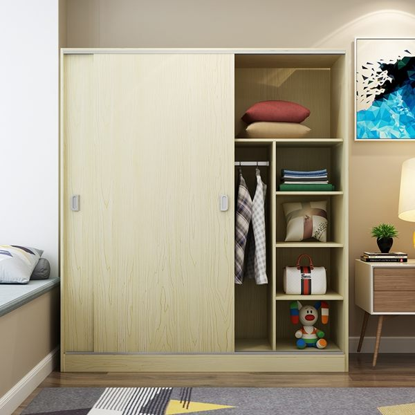 衣櫃館長推薦簡易實木推拉門木質板式整體組裝免運臥室移門簡約現代經濟型櫃子