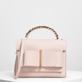 ボウバックル チェーントップハンドルバッグ / Bow Buckle Chain Top Handle Bag (Pink)
