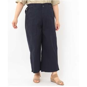 eur3 【大きいサイズ】サイドベルトカジュアルワイドパンツ その他 パンツ,ネイビー