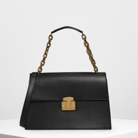 チェーンストラップ ショルダーバッグ / Chain Strap Shoulder Bag (Black)