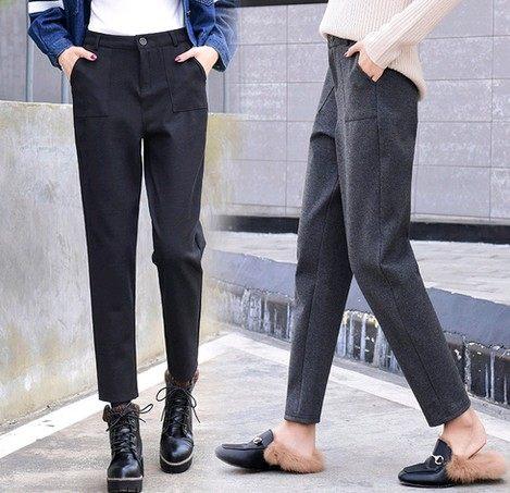 EASON SHOP(GU4513)厚毛呢外口袋高腰直筒褲麻灰色九分褲女長褲素色上班OL韓版寬鬆蘿蔔褲哈倫西裝褲
