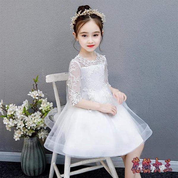女童蓬蓬紗白禮服公主裙小孩六一主持人演出服花童雪公主裙夏