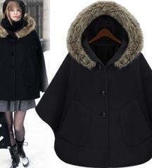 2018新款 女裝秋冬裝披肩英倫正品修身歐美帶帽斗篷毛呢大衣外套