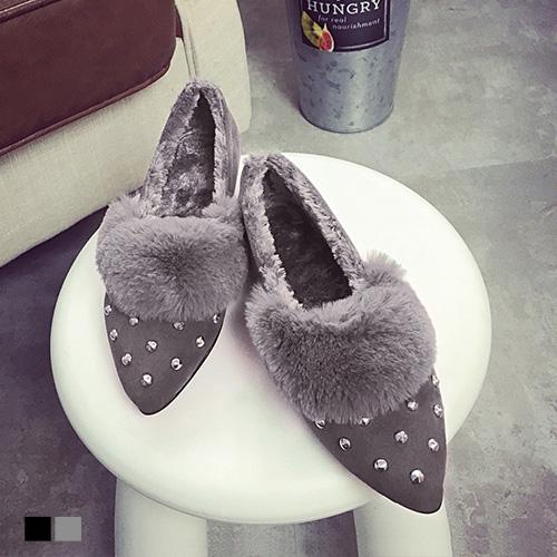 平底鞋韓式鉚釘尖頭休閒包鞋娃娃鞋