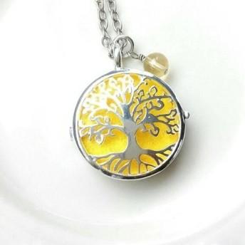 アロマペンダント 「生命の樹」モチーフ イエロー イエローフローライト付 世界樹 ネックレス