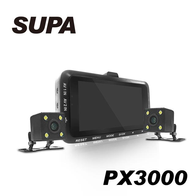 贈32卡-速霸 PX3000 1080 HD高畫質超廣角 機車防水雙鏡行車記錄器
