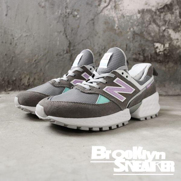 NEW BALANCE 新版 574 IU代言 灰 麂皮 綠 粉紫Logo 老爹鞋 女 (布魯克林) 2019/3月 WS574PRC