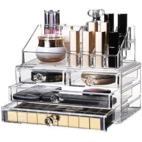 化粧品収納ボックス OBOR(オビオア) 化粧品収納ラック 透明化粧品ケース メイクボックス メイクケース コスメボックス 強い耐久性 整理簡単 引き出し小物/化粧品入れ おしゃれ 透明アクリル 化粧