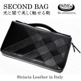 INDIEee インディ イタリア製 ストリシアレザー ダブルファスナーセカンドバッグ メンズ 本革 大きい財布