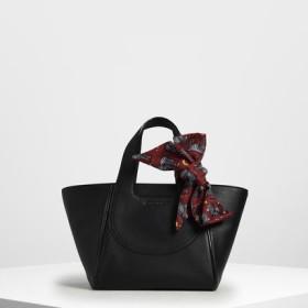 プリントボウ トラペーズバッグ / Printed Bow Trapeze Bag (Black)