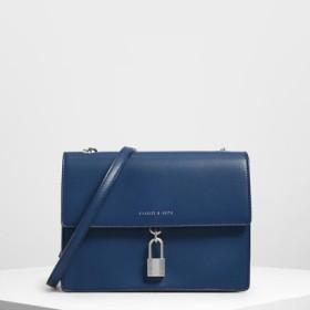 クロックエフェクト パッドロックショルダーバッグ / Croc-Effect Padlock Shoulder Bag (Dark Blue