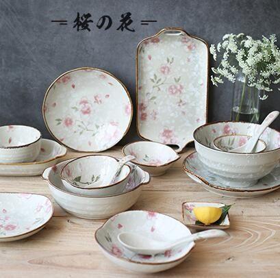 川島屋漫舞櫻花日式手繪陶瓷餐具家用盤子菜盤飯碗湯碗面碗PZ-192【櫻花本鋪】
