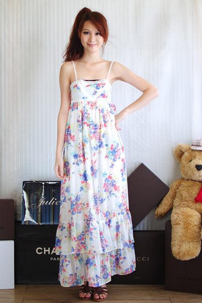 茱麗葉精品 全新名牌 【ZARA】蕾絲細肩花朵圖案層次連身長裙(米白)M
