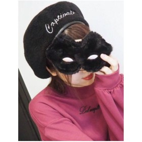 EATME エンブロイダリーボアベレー帽(ブラック)