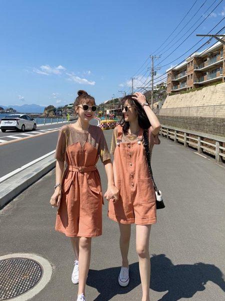 閨蜜裝 連身裙夏季流行女裝韓版假兩件T恤裙背帶短褲套裝閨蜜裝 【新品】