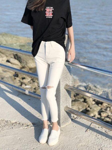 網紅chic八分爛牛仔直筒褲女破洞 潮緊身黑色九分小腳褲灰色韓版長褲