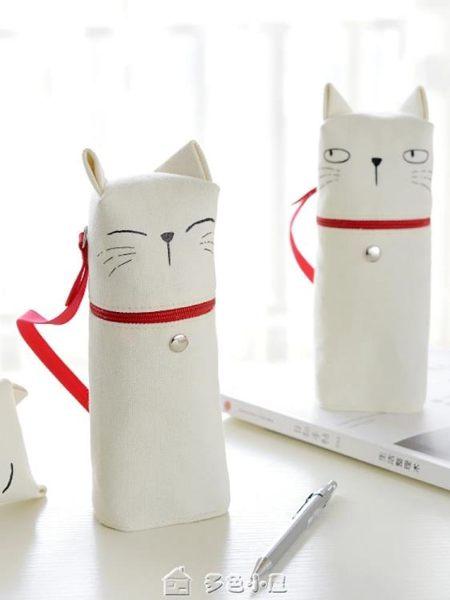 創意貓咪可愛筆袋女 韓國文具袋男小清新帆布卡通鉛筆袋 多色小屋