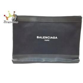 バレンシアガ BALENCIAGA クラッチバッグ ネイビークリップM 420407 黒 キャンバス×レザー  値下げ 20190620
