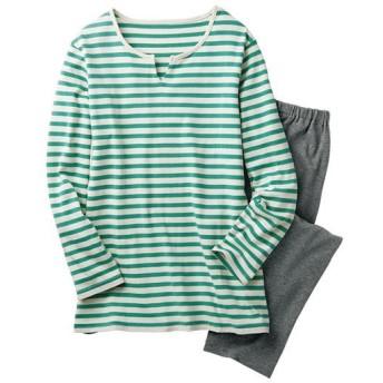 【レディース】 ボーダーTタイプパジャマ(綿100%) ■カラー:フォレストグリーン ■サイズ:S,M,L,LL,3L,5L