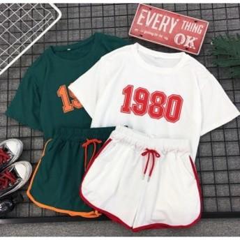 上下セット レディース セットアップ ルームウェア Tシャツ パンツ 原宿 ジャージ ヒップホップ スポーツ パジャマ 部屋着