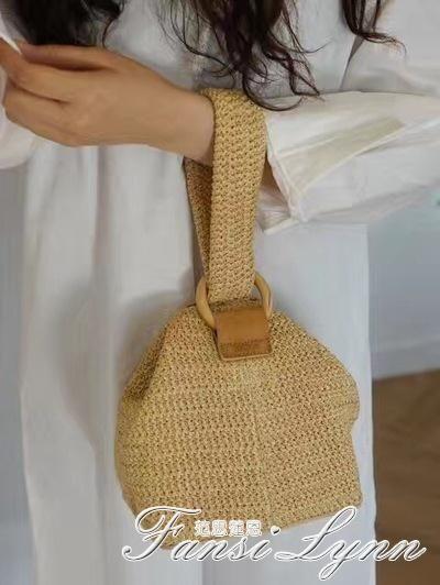 韓國jubine同款包包圓環扣可愛編織籃子手拎包小方包草編包 范思蓮恩